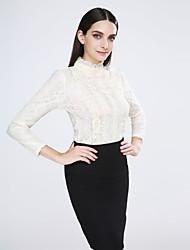 economico -Blusa Da donna Casual Semplice Primavera,Tinta unita Colletto alla coreana Cotone / Elastene Beige Manica lunga Opaco