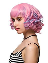 abordables -Pelucas sintéticas Rosa Pelo sintético Rosa Peluca Mujer Corta Sin Tapa