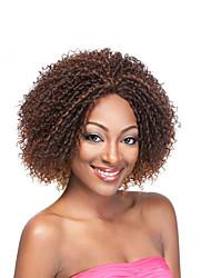 Donna Parrucche sintetiche Senza tappo Riccio Afro Marrone Parrucca riccia stile afro Per donne di colore parrucca nera Parrucca di