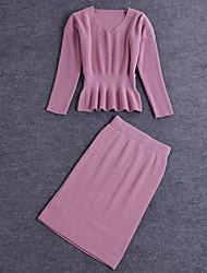 baratos -Feminino Conjunto Saia Suits Casual Moda de Rua Outono,Sólido Rosa Vermelho Preto Cinza Algodão Decote V Manga Longa Média