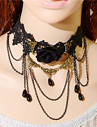 cheap -Fashion Gothic  Vintage Women Black Lace Flower Water Drop Tassel Pendant Necklace Jewelry