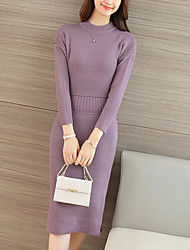 cheap -Women's Going out Street chic Bodycon Dress,Solid Crew Neck Midi Long Sleeve Red / Purple Polyester Fall