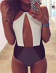 cheap -Women's Color Block Cut Out One Piece Monokini Swimsuit