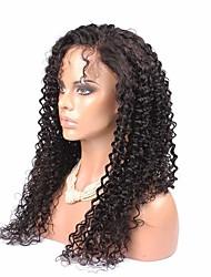baratos -Cabelo Humano Frente de Malha Peruca Kinky Curly Peruca 120% Densidade do Cabelo Riscas Naturais Peruca Afro Americanas 100% Feita a Mão Mulheres Longo Perucas de Cabelo Natural / Crespo Cacheado