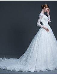 cheap -Ball Gown Scoop Neck Cathedral Train Tulle Wedding Dress with Beading Appliques by LAN TING BRIDE®