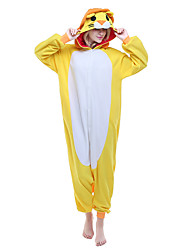 cheap -Kigurumi Pajamas Lion Onesie Pajamas Costume Polar Fleece Yellow Cosplay For Adults' Animal Sleepwear Cartoon Halloween Festival / Holiday