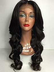 cheap -Women Synthetic Lace Front Wig African American Long Body Wave Natural Heat Resistant Synthetic Wigs