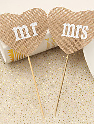 Set of 2 Rustic Wedding Decoration Natural Burlap Jute Heart Mrs Mr Party Food Picks