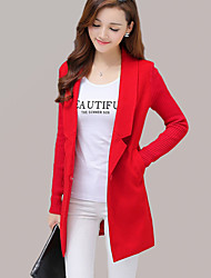 cheap -Women's Going out Street chic Coat,Solid Notch Lapel Long Sleeve Fall / Winter Red / Gray Wool / Cotton / Polyester