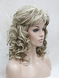cheap -Synthetic Wig Curly With Bangs Blonde Women's Capless Carnival Wig Halloween Wig Capless Wig Medium Synthetic Hair