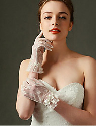 Lace Wrist Length Glove Bridal Gloves With Bow Classical Feminine Style