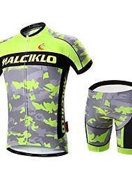 Malciklo Cycling Jersey with Shorts Men's Short Sleeves Bike Clothing Suits Quick Dry Front Zipper Wearable High Breathability (>15,001g)