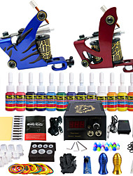 billige -Tattoo Machine Starter Sæt - 2 pcs Tattoo Maskiner med 14 x 5 ml tatoveringsfarver, Professionel LCD strømforsyning No case 2 x legering tattoo maskine til foring og skygge