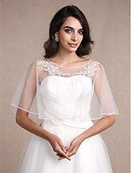 cheap -Sleeveless Lace Tulle Wedding Party Evening Casual Women's Wrap With Lace Shrugs