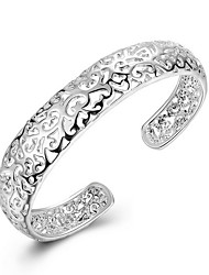 Exquisite Simple Fine S925 Silver Hollow Cuff Bangle Bracelet for Wedding Party Women Christmas Gifts