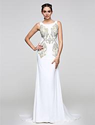 abordables -Trompeta / Sirena Camiseta con cuello redondo Corte Raso Evento Formal Vestido con Diseño / Estampado por TS Couture®