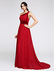 A-Line One Shoulder Sweep / Brush Train Chiffon Velvet Formal Evening Dress with Side Draping by TS Couture®