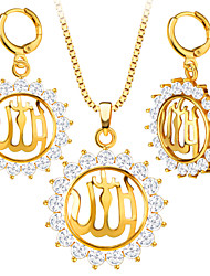 Fashion Jewelry Islamic Crystal Allah Charms 18K Gold Plated Pendant Necklace&Earrings Set For Women Gift S20189