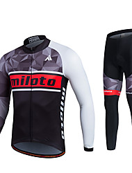 economico -Miloto Maglia con pantaloni da ciclismo Unisex Manica lunga Bicicletta Set di vestiti Compressione Pad 3D Rifiniture riflettenti