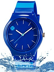 cheap -Quartz Wrist Watch Colorful Plastic Band Leaves Candy color Casual Fashion Cool Stripes Blue