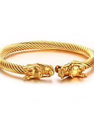 cheap -Men's Stainless Steel Gold Plated Dragon Cuff Bracelet - Personalized Hip-Hop Fashion Circle Animal Silver Golden Bracelet For Party