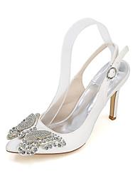 preiswerte -Damen Schuhe Seide Frühling Sommer High Heels Stöckelabsatz Strass für Hochzeit Party & Festivität Purpur Rot Blau Champagner Elfenbein