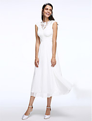 cheap -A-Line Jewel Neck Tea Length Chiffon Made-To-Measure Wedding Dresses with Ruched / Lace Insert by LAN TING BRIDE® / Little White Dress