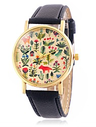 Women's Fashion Flower and Animal Pattern Wrist Quartz Watch with Leather Strap Golden Case