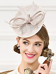 Women's Feather / Flax Headpiece-Wedding / Special Occasion / Casual Fascinators / Hats 1 Piece Gray Oval