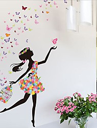 cheap -Flower Faerie Dance Girl Wall Stickers Living Room Bedroom Backdrop Romantic Glass Decorative Stickers