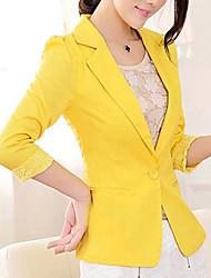 3/4 ærme V-hals Damer Normal Ensfarvet Enkel I-byen-tøj Arbejde Blazer