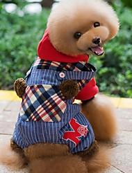 economico -Cane Felpe con cappuccio Tuta Abbigliamento per cani Vacanze Di tendenza A quadri Rosso Verde Costume Per animali domestici