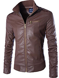 cheap -Men's Chic & Modern Leather Jacket - Solid Color, Modern Style Stand / Long Sleeve