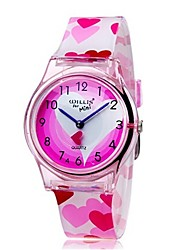 cheap -Quartz Wrist Watch Colorful Plastic Band Heart shape Candy color Casual Fashion Cool Pink
