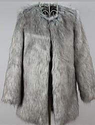 billige -Løstsiddende Dame Ensfarvet Vintage Arbejde Plusstørrelser-Pelsfrakke