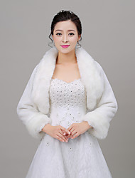 Long Sleeves Faux Fur Wedding Women's Wrap With Feathers / fur Shrugs