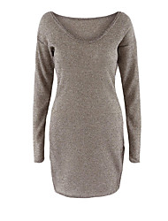 Women's Off The Shoulder Casual/Daily Sexy Long PulloverSolid Brown V Neck Long Sleeve Spandex Fall / Winter Medium Micro-elastic