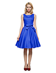 Women's Bow Party Vintage Skater Dress,Solid Boat Neck Knee-length Sleeveless Blue/Red/Black Cotton All Seasons Mid Rise