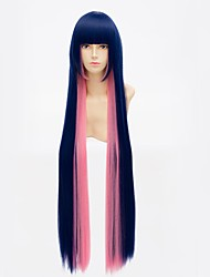 cheap -100CM Anime Panty & Stocking with Garterbelt Stocking Cosplay Wigs Blue Mix Pink Long Straight Synthetic Hair Wig