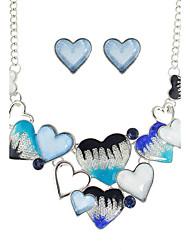 New Colorful Enamel Heart Shape Necklace Earrings Set