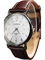 cheap -YAZOLE Women's Couple's Quartz Wrist Watch / Casual Watch PU Band Vintage Casual Cool Black White Red Brown