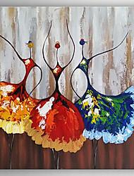 Недорогие -Ручная роспись Абстракция Квадратный, Modern холст Hang-роспись маслом Украшение дома 1 панель