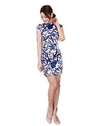 cheap -One-Piece Short Sleeve Long Length Cyan Lolita Dress Polyester