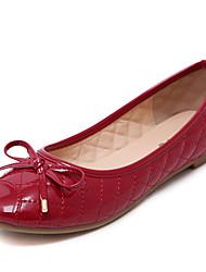 baratos -Mulheres Sapatos Courino Primavera / Verão / Outono Rasos Caminhada Sem Salto Laço Preto / Vermelho / Amêndoa