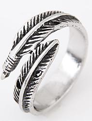 cheap -Men European Style Vintage Retro Fashion Feather Leaf Band Ring