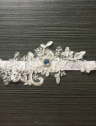 cheap -Lace Stretch Satin Classic Fashion Wedding Garter with Rhinestone Flower Garters