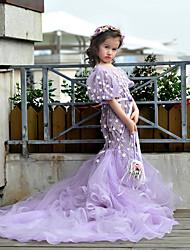 Spazzata della principessa / vestito dalla ragazza del fiore del treno della spazzola - collo del gioiello dei manicotti del bicchierino del tulle