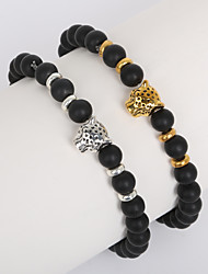 cheap -Beadia 1Pc 8mm Black Glass Bead Strand Bracelet Buddha Leopard Bracelet