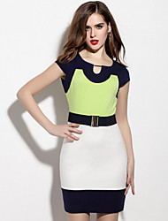 cheap -Women's Street chic A Line Sheath Dress - Solid Colored