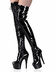 cheap -Women's Shoes Patent Leather Winter Fall Fashion Boots Boots Stiletto Heel Platform Round Toe Lace-up for Casual Dress Party & Evening